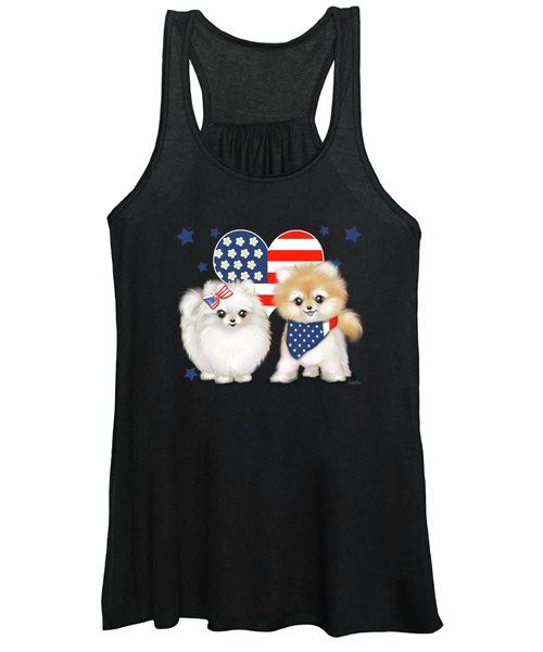 Patriotic Pomeranians Women's Tank Top