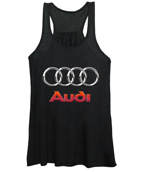 Audi 3 D Badge On Black Women's Tank Top