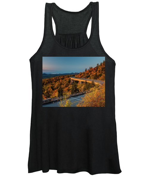 Morning Sun Light - Autumn Linn Cove Viaduct Fall Foliage Women's Tank Top
