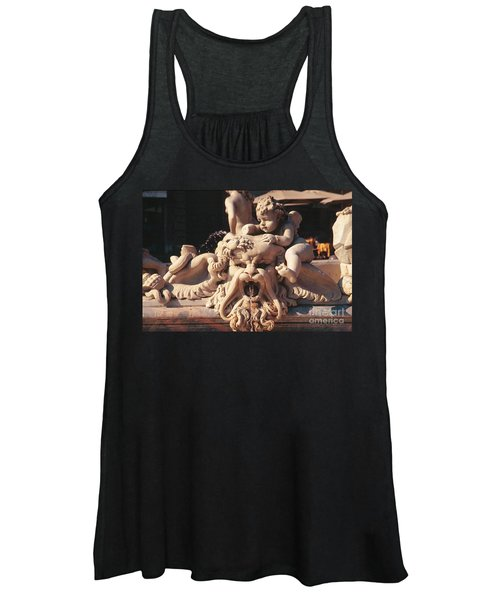 Baroque Fountain Sculpture With Cherub In Piazza Navone Rome Italy Women's Tank Top