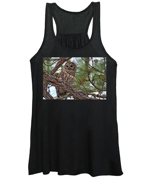 Barred Owl Perched In Tree Women's Tank Top