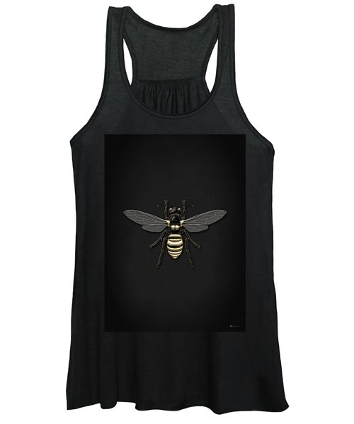 Black Wasp With Gold Accents On Black  Women's Tank Top