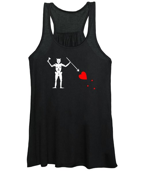 Women's Tank Top featuring the digital art Blackbeard Pirate Flag Tee by Edward Fielding