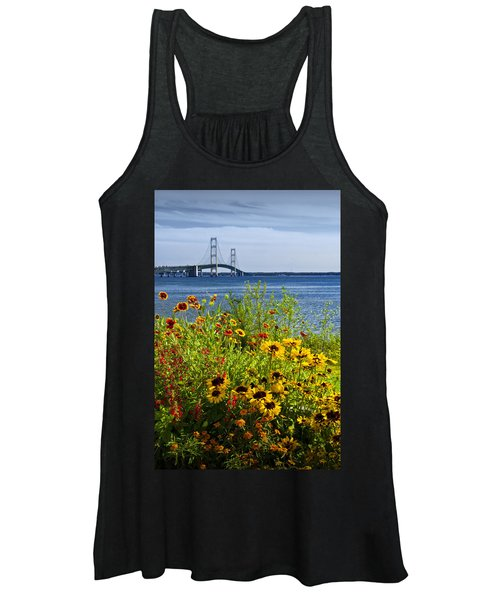 Blooming Flowers By The Bridge At The Straits Of Mackinac Women's Tank Top