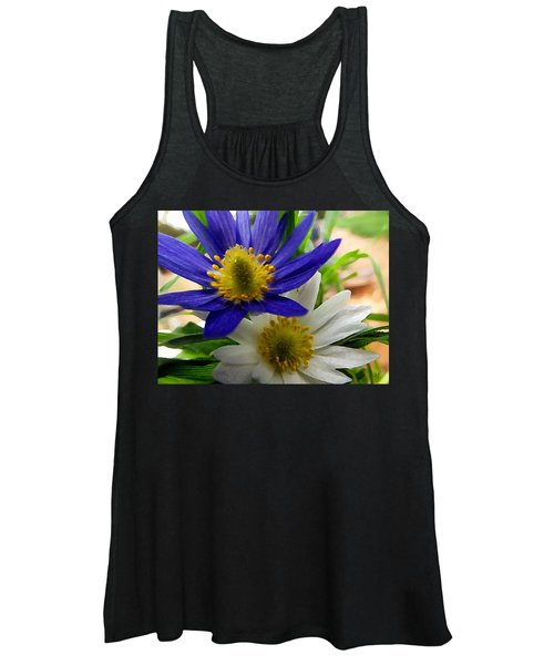 Blue And White Anemones Women's Tank Top