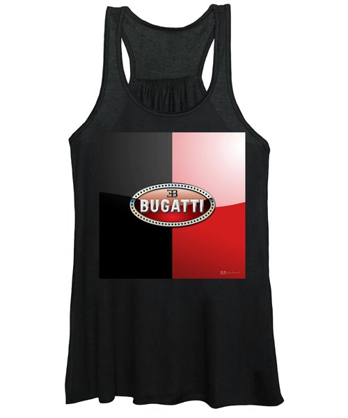Bugatti 3 D Badge On Red And Black  Women's Tank Top