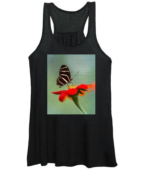 Butterfly Zebra Longwing On Zinnia Women's Tank Top
