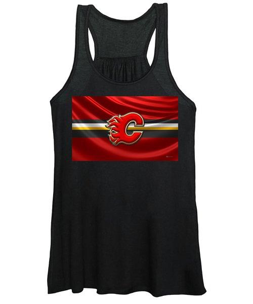 Calgary Flames - 3d Badge Over Flag Women's Tank Top