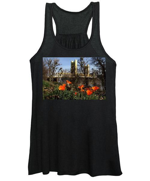 California Poppies With The Slightly Photographically Blurred Sacramento Tower Bridge In The Back Women's Tank Top