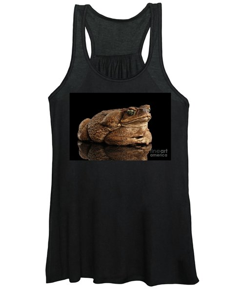 Cane Toad - Bufo Marinus, Giant Neotropical Or Marine Toad Isolated On Black Background Women's Tank Top