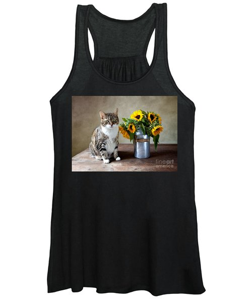 Cat And Sunflowers Women's Tank Top