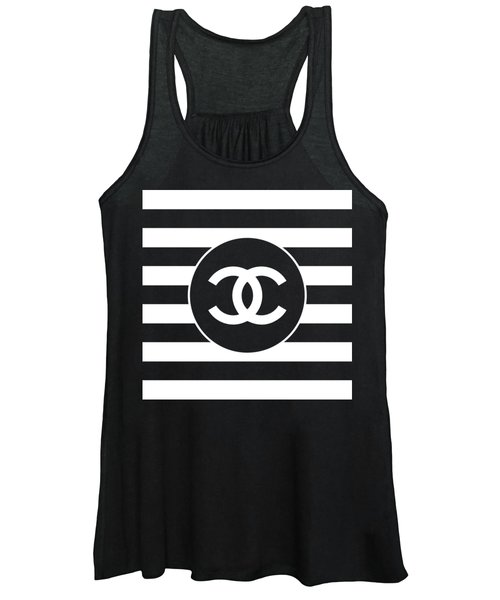 Chanel - Stripe Pattern - Black And White 2 - Fashion And Lifestyle Women's Tank Top