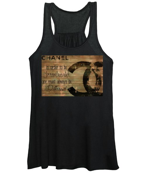 Chanel Wood Panel Rustic Quote Women's Tank Top