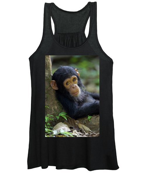 Chimpanzee Pan Troglodytes Baby Leaning Women's Tank Top