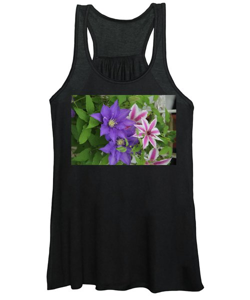 Clematis Purple And Pink White Women's Tank Top
