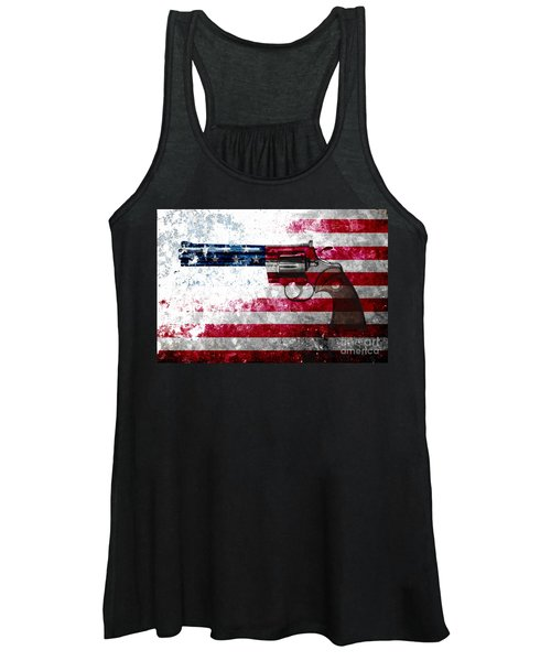 Colt Python 357 Mag On American Flag Women's Tank Top