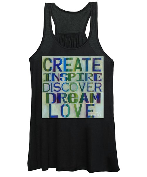 Women's Tank Top featuring the painting Create Inspire Discover Dream Love by Carla Bank