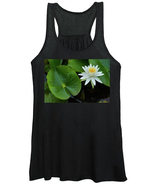 Crisp White And Yellow Lily Women's Tank Top