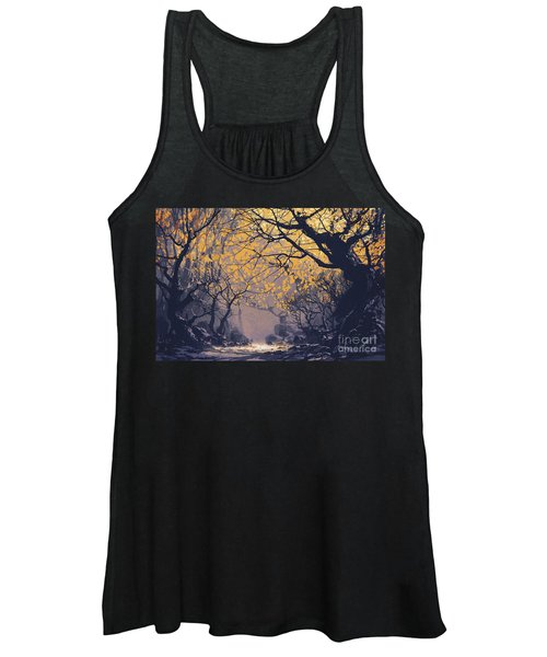 Women's Tank Top featuring the painting Dark Forest by Tithi Luadthong