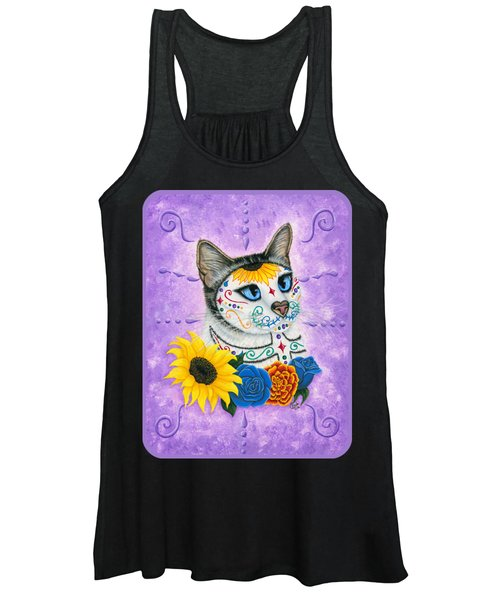 Day Of The Dead Cat Sunflowers - Sugar Skull Cat Women's Tank Top