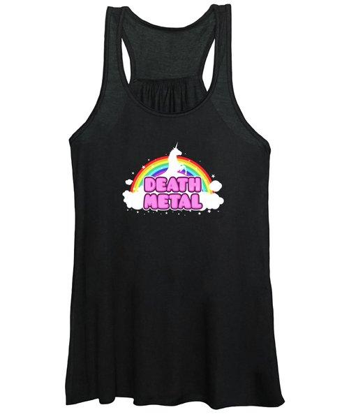 Death Metal Funny Unicorn  Rainbow Mosh Parody Design Women's Tank Top