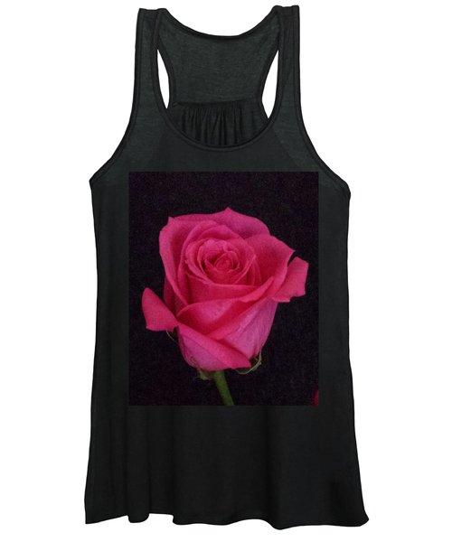 Deep Pink Rose On Black Women's Tank Top