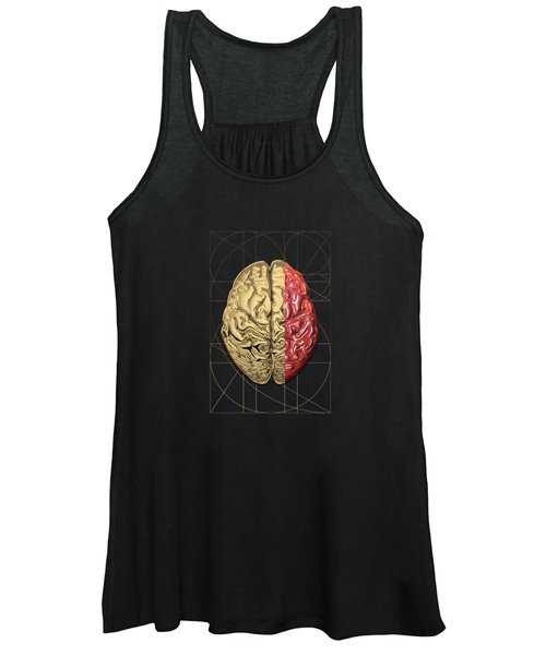 Dualities - Half-gold Human Brain On Black And White Canvas Women's Tank Top