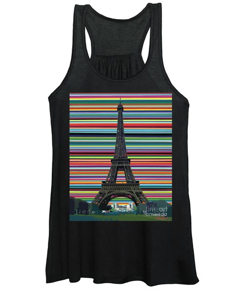 Women's Tank Top featuring the painting Eiffel Tower With Lines by Carla Bank