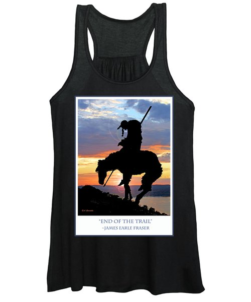 End Of The Trail Sculpture In A Sunset Women's Tank Top