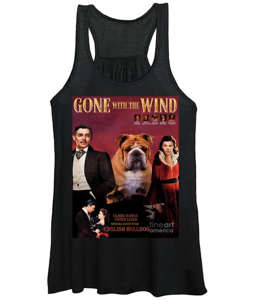 English Bulldog Art Canvas Print - Gone To The Wind Movie Poster Women's Tank Top