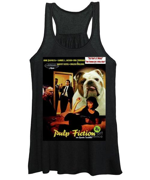 English Bulldog Art Canvas Print - Pulp Fiction Movie Poster Women's Tank Top