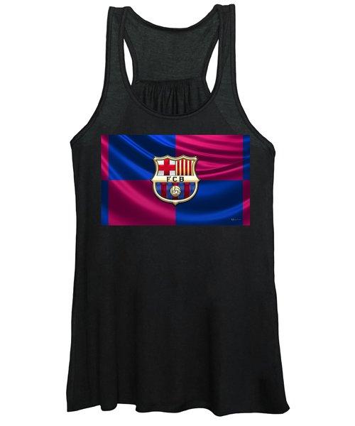F. C. Barcelona - 3d Badge Over Flag Women's Tank Top