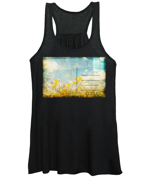 Floral In Blue Sky Postcard Women's Tank Top