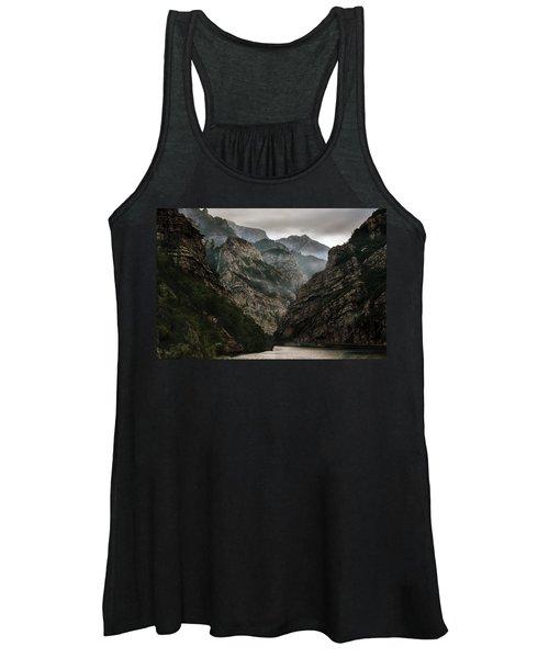 Foggy Mountains Over Neretva Gorge Women's Tank Top