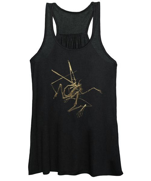 Fossil Record - Gold Pterodactyl Fossil On Black Canvas #1 Women's Tank Top