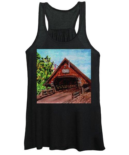 Frankenmuth Michigan Wooden Bridge Impressionistic Landscape Xi Women's Tank Top