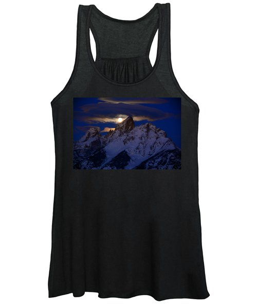 Full Moon Sets Over The Grand Teton Women's Tank Top