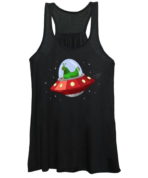 Funny Green Alien Martian Chicken In Flying Saucer Women's Tank Top