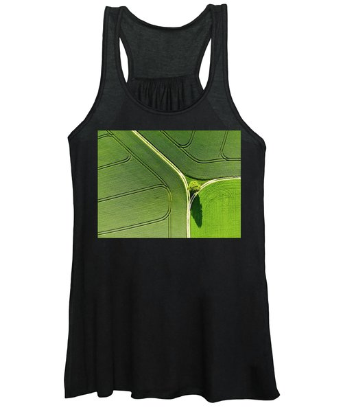 Geometric Landscape 05 Tree And Green Fields Aerial View Women's Tank Top
