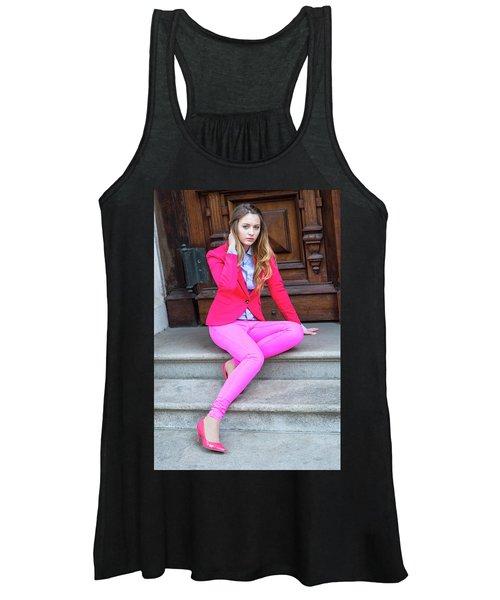 Girl Dressing In Pink Women's Tank Top