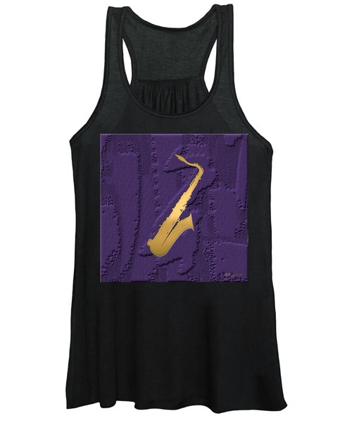 Gold Embossed Saxophone On Purple  Women's Tank Top