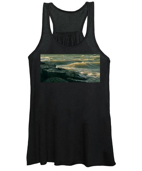 Golden Capped Sunset Waves Of Lake Michigan Women's Tank Top