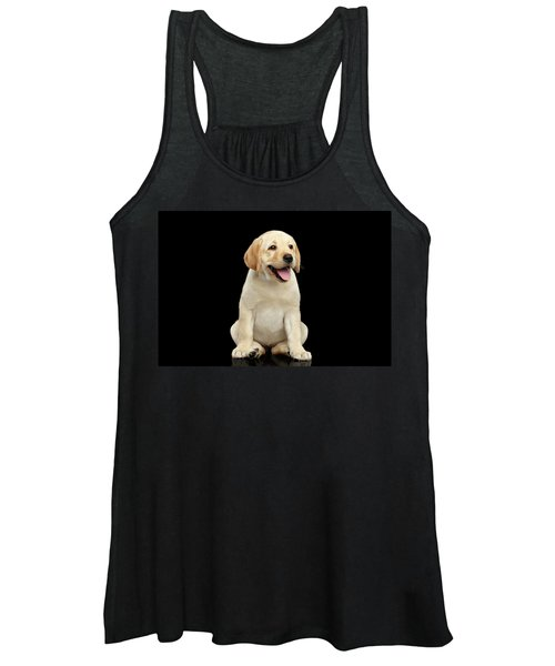 Golden Labrador Retriever Puppy Isolated On Black Background Women's Tank Top