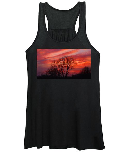 Golden Pink Sunset With Trees Women's Tank Top