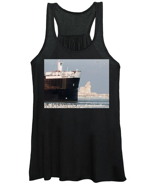Great Lakes Ship Passing A Frozen Cleveland Lighthouse Women's Tank Top
