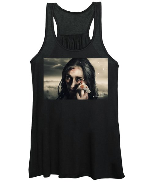 Grim Face Of Horror Crying Tears Of Blood Women's Tank Top