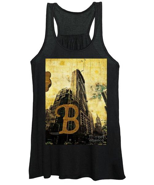 Grungy Melbourne Australia Alphabet Series Letter B Central Busi Women's Tank Top