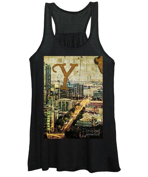 Grungy Melbourne Australia Alphabet Series Letter Y Yarra River Women's Tank Top