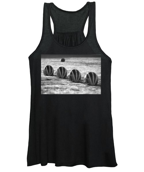 Helmets On Dew-covered Field At Dawn Black And White Women's Tank Top