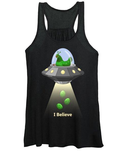 I Believe In Green Chicken Aliens Women's Tank Top